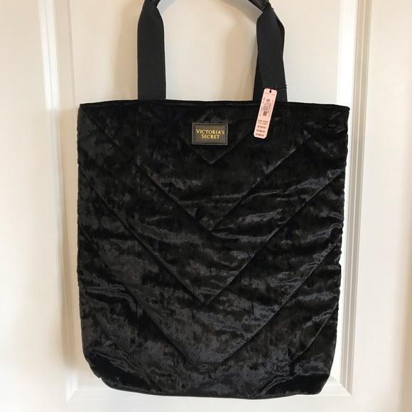 Victoria's Secret Handbags - NWT Super cute black crushed velvet tote bag